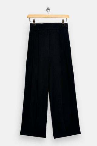 WOMEN Black Wide Leg Pleated Pants
