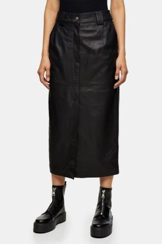 WOMEN **Black Leather Western Skirt by Boutique