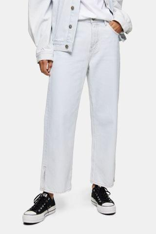 WOMEN **Bleach Wash Straight Jeans by Boutique