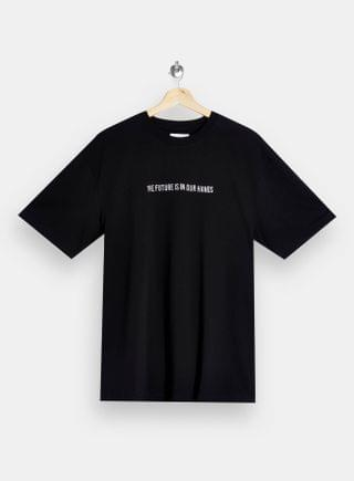 WOMEN TOPMAN Future Embroidered T-Shirt in Black