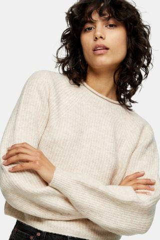 WOMEN Ribbed Cropped Crew Neck Knitted Sweater