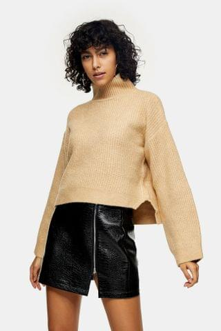 WOMEN Camel Cropped Funnel Neck Knitted Sweater