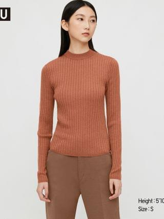 WOMEN women u extra fine merino ribbed crew neck sweater