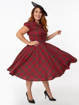 WOMEN Plus Size 1950s Style Red & Green Plaid Mona Swing Dress