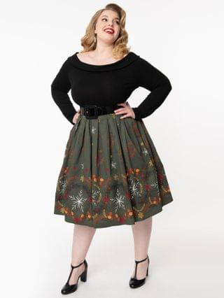 WOMEN Plus Size 1950s Olive & Winter Leaves Print Pleated Swing Skirt