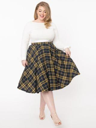 WOMEN Plus Size Vintage Style Navy & Yellow Plaid Circle Swing Skirt