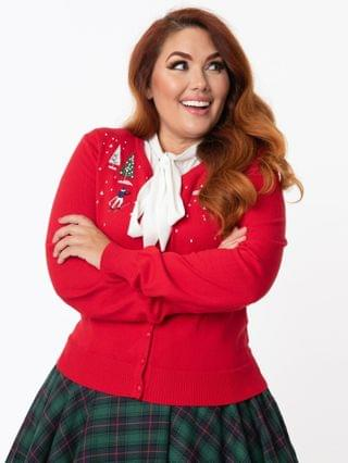 WOMEN Plus Size Red Christmas Town Embroidered Cardigan