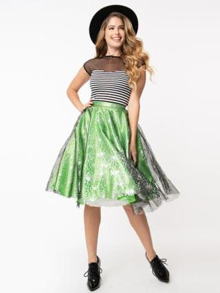 WOMEN Green & Silver Spiderwebs Tulle Swing Skirt
