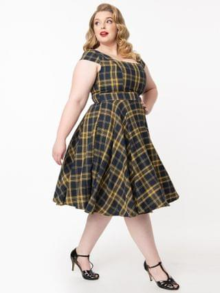 WOMEN Plus Size Vintage Style Navy & Yellow Plaid Anna Swing Dress