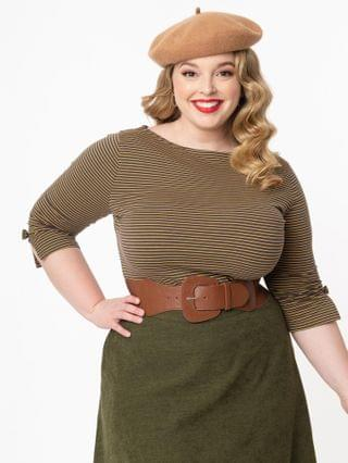WOMEN Plus Size Yellow & Grey Stripe Bow Sleeve Top