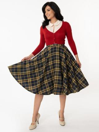 WOMEN Vintage Style Navy & Yellow Plaid Circle Swing Skirt