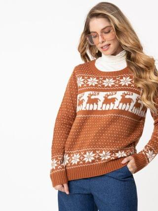 WOMEN Brick & White Fair Isle Winter Sweater