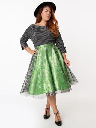 WOMEN Plus Size Green & Silver Spiderwebs Tulle Swing Skirt