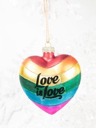 WOMEN Love Is Love Rainbow Heart Glass Ornament