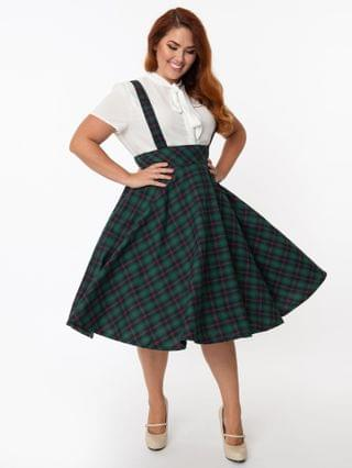 WOMEN Plus Size Emerald & Navy Plaid Abby Pinafore Skirt