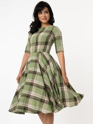WOMEN Light Green & Brown Plaid Sleeved Audrey Swing Dress