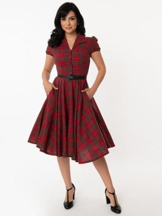 WOMEN 1950s Style Red & Green Plaid Mona Swing Dress