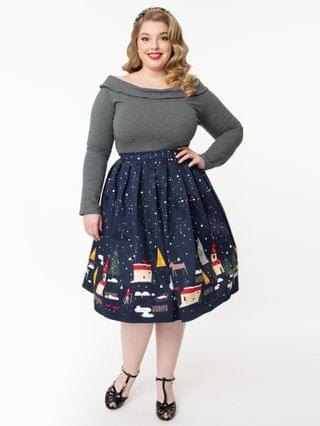 WOMEN Plus Size 1950s Christmas Town Pleated Swing Skirt