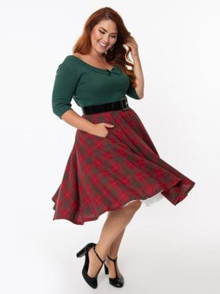 WOMEN Plus Size Vintage Style Red & Green Plaid Circle Swing Skirt