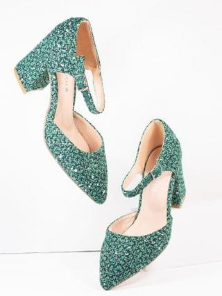 WOMEN Chelsea Crew Green Tweed Textile Jillian Heels