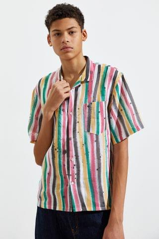 MEN Whole Linen Painted Stripe Short Sleeve Button-Down Shirt