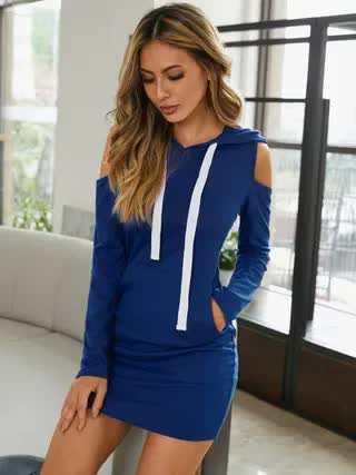 WOMEN YOINS Cut Out Cold Shoulder Hooded Design Long Sleeves Sweatshirt Dress