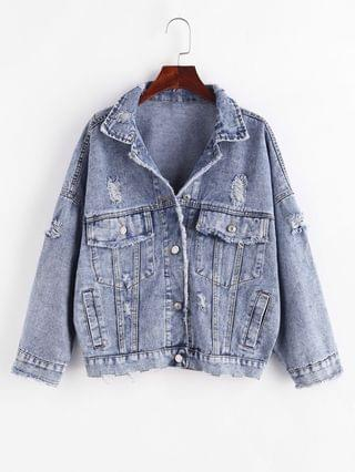 WOMEN Button Up Frayed Distressed Denim Jacket - Blue L