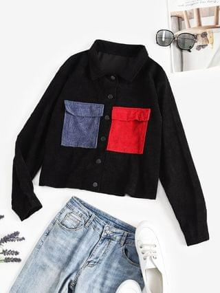 WOMEN Button Up Colorblock Corduroy Cargo Jacket - Black Xl