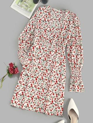 WOMEN Button Loop Tiny Floral Smock Sleeve Mini Dress - Multi M