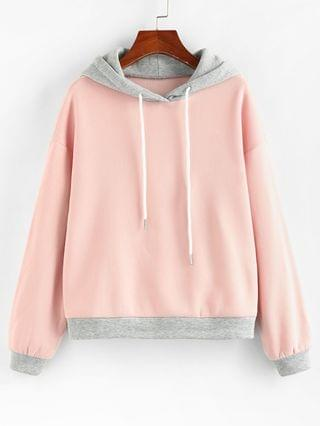 WOMEN Two Tone Fleece Lined Bicolor Hoodie - Multi-a S
