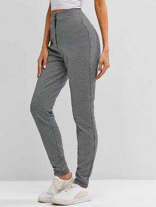 WOMEN High Waisted Houndstooth Pants - Multi-a S