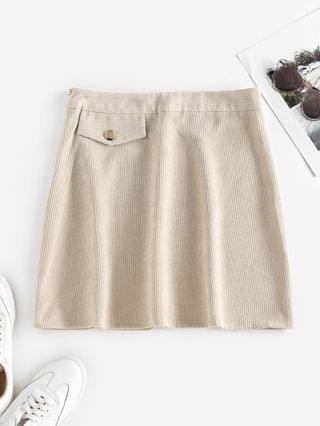 WOMEN Corduroy Flap Detail Mini Skirt - Light Yellow L