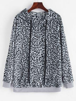 WOMEN Leopard Kangaroo Pocket Plush Faux Fur Hoodie - Gray M
