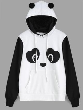 WOMEN Panda Face Kangaroo Pocket Hoodie - Black White M