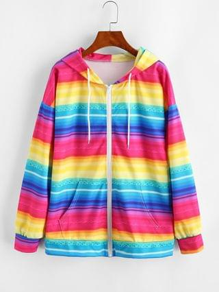 WOMEN Full Zip Pockets Rainbow Stripes Hoodie - Multi-a L
