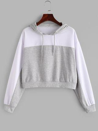 WOMEN Two Tone Drop Shoulder Pullover Hoodie - Platinum Xl