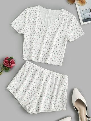 WOMEN Ribbed Ditsy Floral Short Pajama Set - White L