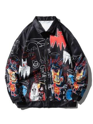 MEN Graphic Graffiti Print Hip Hop Streetwear Jacket - Black L