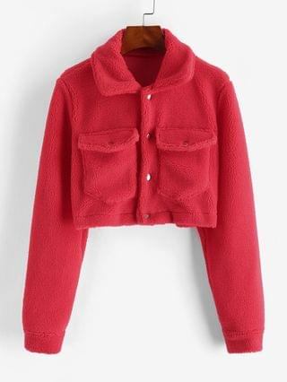 WOMEN Cropped Snap Button Cargo Teddy Jacket - Red Xl
