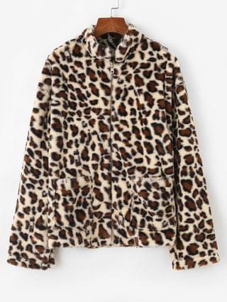 WOMEN Dual Pocket Zip Up Leopard Faux Fur Coat - Coffee M