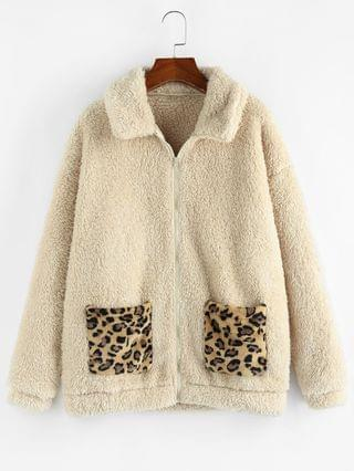 WOMEN Leopard Pocket Zip Faux Fur Teddy Coat - Apricot M