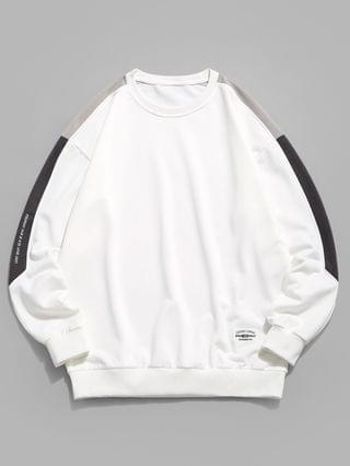 MEN Drop Shoulder Letter Graphic Pullover Sweatshirt - White L