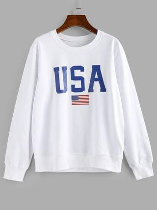 WOMEN USA Graphic American Flag Patriotic Pullover Sweatshirt - White S