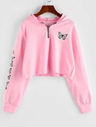 WOMEN Half Zip Butterfly Print Cropped Hoodie - Light Pink Xl