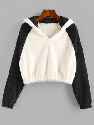 WOMEN Bicolor Fluffy Raglan Sleeve Hoodie - Multi-a Xl