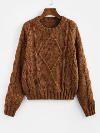 WOMEN Cable Knit Drop Shoulder Jumper Sweater - Coffee S
