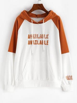 WOMEN Raglan Sleeve Letter Embroidered Contrast Hoodie - White Xl