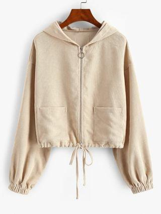 WOMEN Dual Pocket Hooded Zip Up Corduroy Jacket - Apricot L