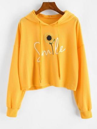 WOMEN Sunflower Drop Shoulder Crop Hoodie - Yellow Xl