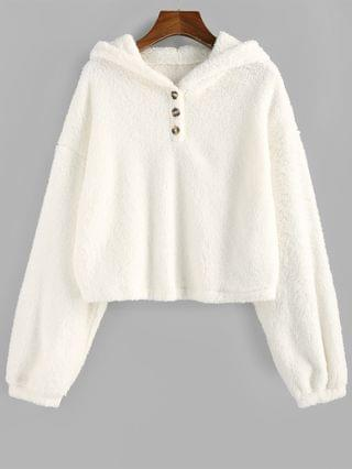 WOMEN Fuzzy Drop Shoulder Buttoned Faux Fur Hoodie - White Xl
